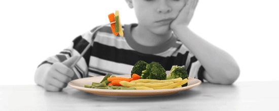 bambini che non mangiano verdure